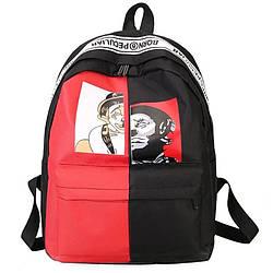 Рюкзак пушка огонь черно красный с лентами Харадзюку Menglanfu.