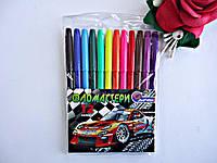 """Фломастеры цветные """"Sport Car""""  12цв Josef Otten в пластиковом чехле для рисования и детского творчества, Флом"""