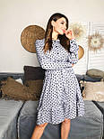Женское платье в горошек с рюшами (3 цвета), фото 3