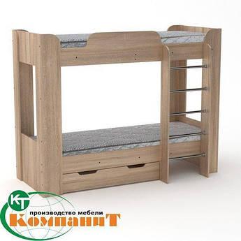 Кровать с матрасами двухъярусная Твикс-2 дуб сонома