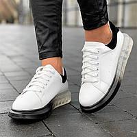 Женские кроссовки белые модные на высокой, толстой подошве, на платформе (Код: 1684а), фото 1