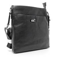 Мужская сумка Mont Blanc mb-109-2 черная через плечо из натуральной кожи