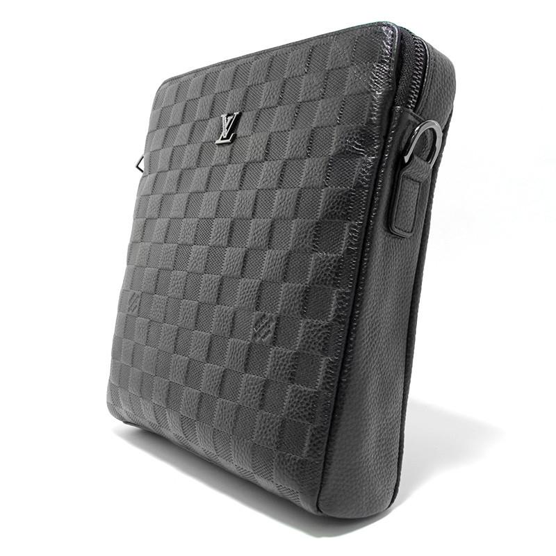Кожаная маленькая сумка мужская черная через плечо lv-808-2 bla