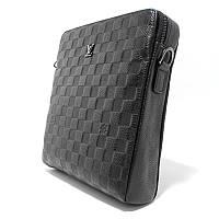 Маленька сумка шкіряна чоловіча чорна через плече lv-808-2 bla