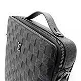 Кожаная маленькая сумка мужская черная через плечо lv-808-2 bla, фото 3