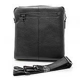 Кожаная маленькая сумка мужская черная через плечо lv-808-2 bla, фото 4