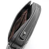 Кожаная маленькая сумка мужская черная через плечо lv-808-2 bla, фото 7
