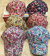 Кепка детская с принтом цветов хлопок р 54