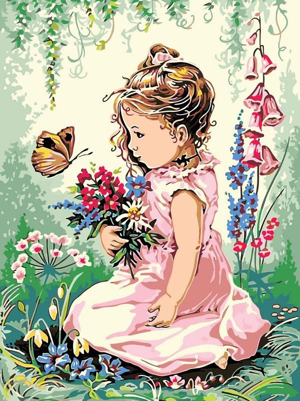 Картина по номерам Девочка и бабочка, 30x40 см., Babylon