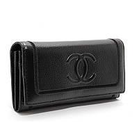 Черный женский кошелек кожаный на на кнопке ch-9303 bla, фото 1