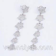 Серебряные длинные серьги Звезды