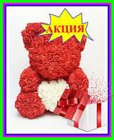 Мишка из 3D роз 40см в красивой подарочной упаковке мишка Тедди из роз оригинальный подарок, ароматизирован