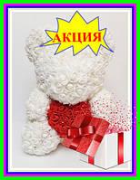 Мишка из 3D роз 40см в красивой подарочной упаковке мишка Тедди из роз оригинальный подарок девушке БЕЛЫЙ