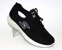 Чёрные летние трикотажные кроссовки, фото 1