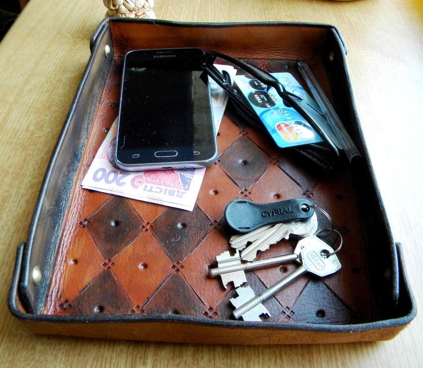 Кожаный поднос лоток для ключей