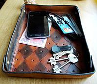 Кожаный поднос лоток для ключей, фото 1