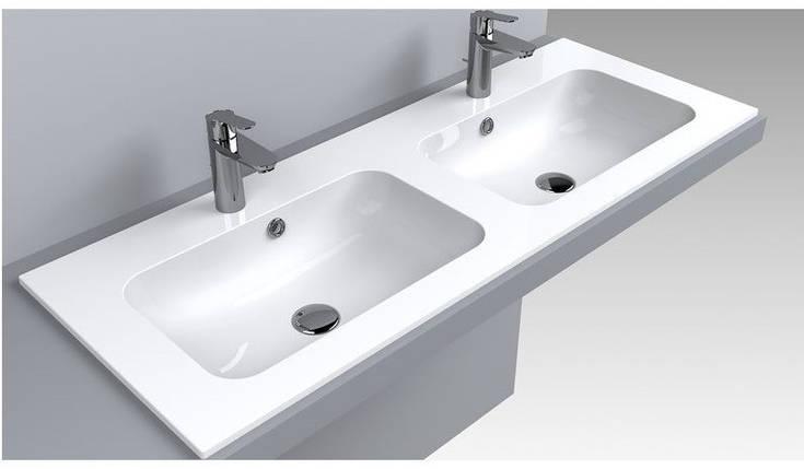 Раковина двойная для ванной Miraggio Della 1100-2 (матовый или глянец/ 110*45*13 см), фото 2