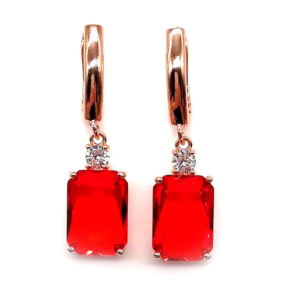 Серьги SONATA из медицинского золота, красные фианиты, позолота PO, 23734             (1)