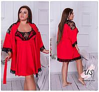Женский батальный домашний комплект (ночнушка и халат). 3 цвета!, фото 1