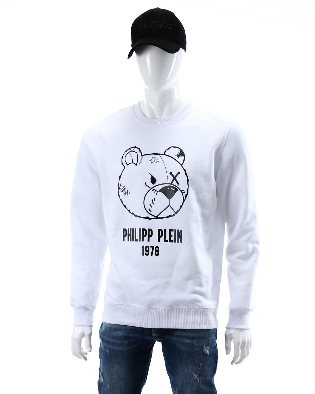 Свитшот осень-зима белый PHILIPP PLEIN с принтом Мишка WHT XXL(Р) 19-526-003
