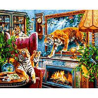 Картина раскраска по номерам на холсте 40*50см Babylon VP1244 Тигры