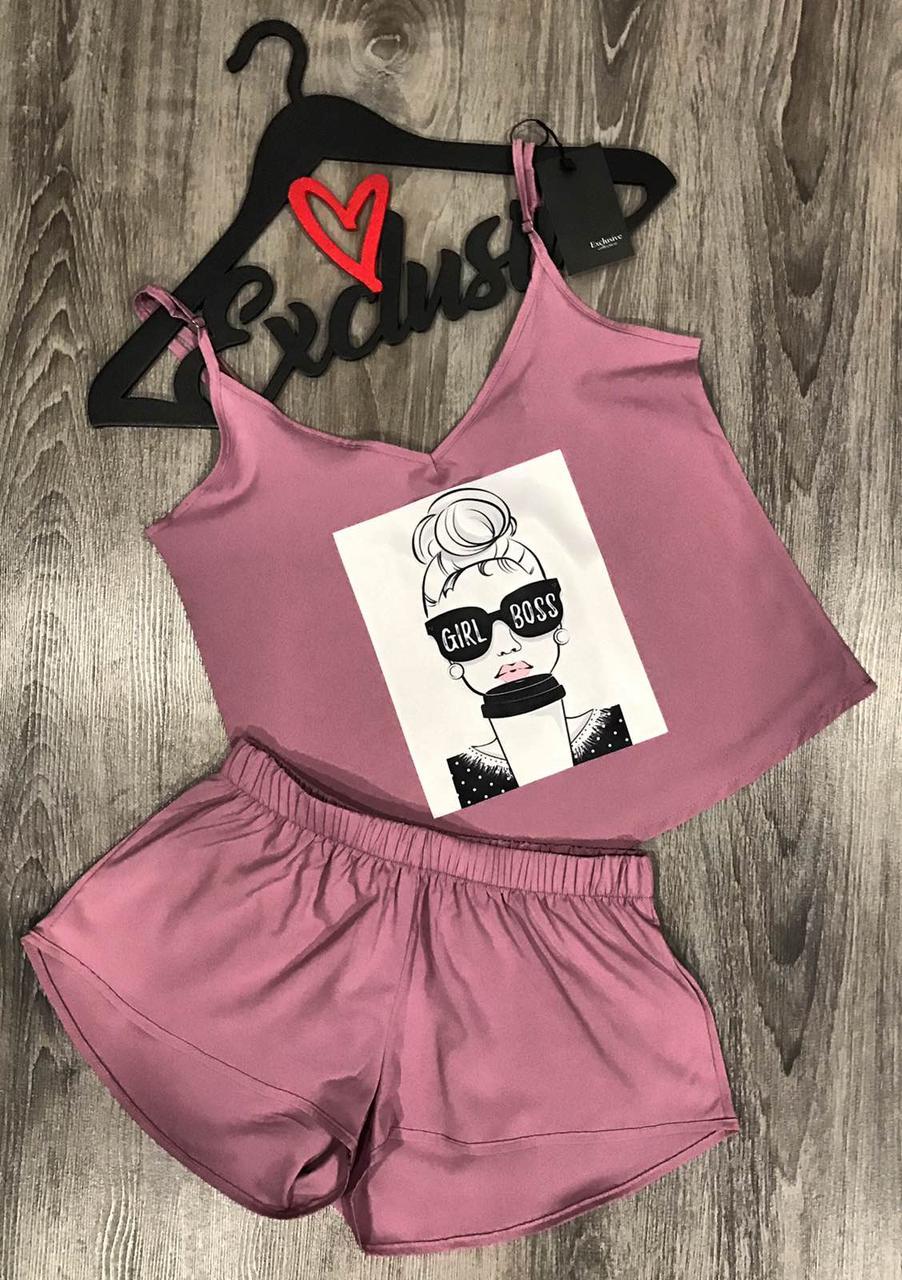Річний комплект майка+шорти Girl Boss, одяг для сну і відпочинку.