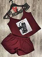 Стильный комплект майка и шорты для сна и отдыха, пижамы женские.