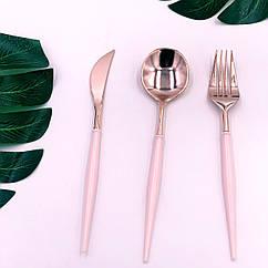 Набор столовых приборов пластик розовый+золото