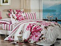Сатиновое постельное белье евро ELWAY 3799 «Пионы»