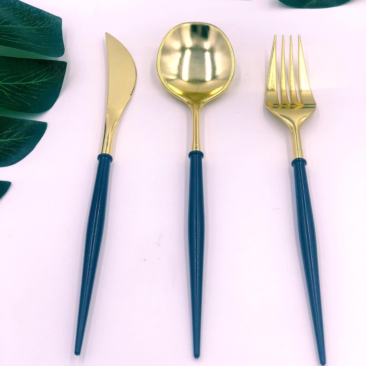 Набор столовых приборов пластик черный +золото