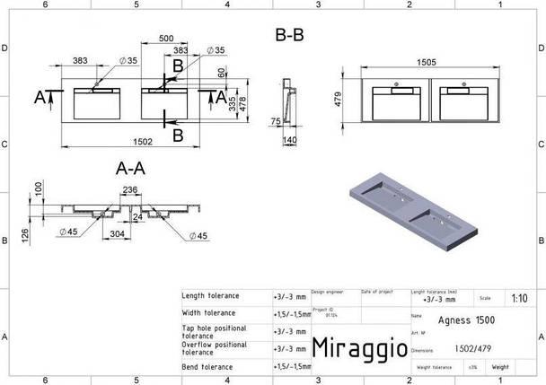 Раковина для ванной двойная подвесная Miraggio AGNESS 1500  (глянец/ 1505*479*140 мм), фото 2