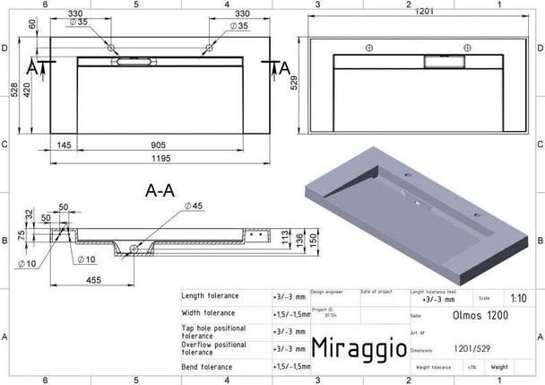Раковина для ванной подвесная Miraggio Olmos 1200 (глянец/ 1201*529*140 мм), фото 2