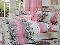 Сатиновое постельное белье евро ELWAY 3940 «Листики»