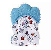 Рукавичка гризунець для малюків, прорізувач для зубів з слониками. Синя