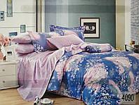 Сатиновое постельное белье евро ELWAY 4090 «Полевые цветы»