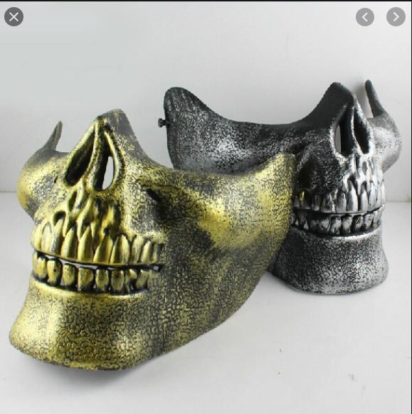 Маска на пол лица страшилка. Маска на пол лица череп. Маска череп золото серебро