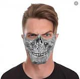 Маска на пол лица страшилка. Маска на пол лица череп. Маска череп золото серебро, фото 2