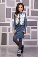 Детский комплект (платье длинный рукав+жилетка), SUZIE