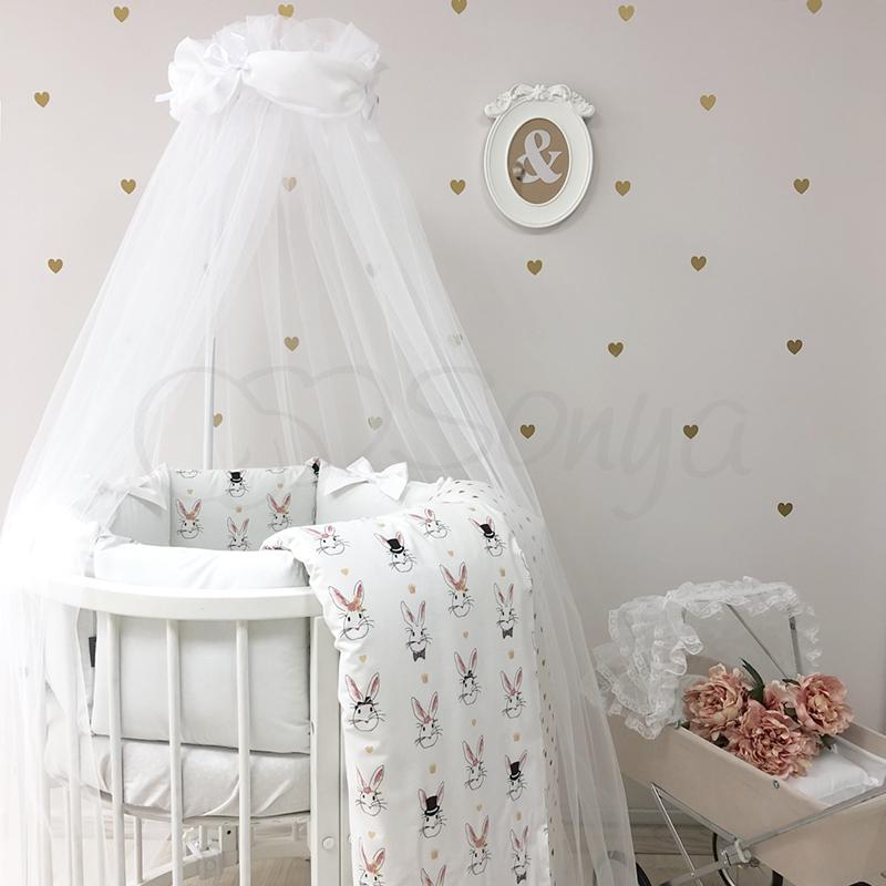 Комплект детского белья в овальную кроватку Shine Алиса белый (7 предметов)