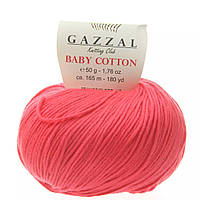Пряжа Gazzal Baby Cotton 3458 (Газзал Беби Коттон) Хлопок Акрил Малина