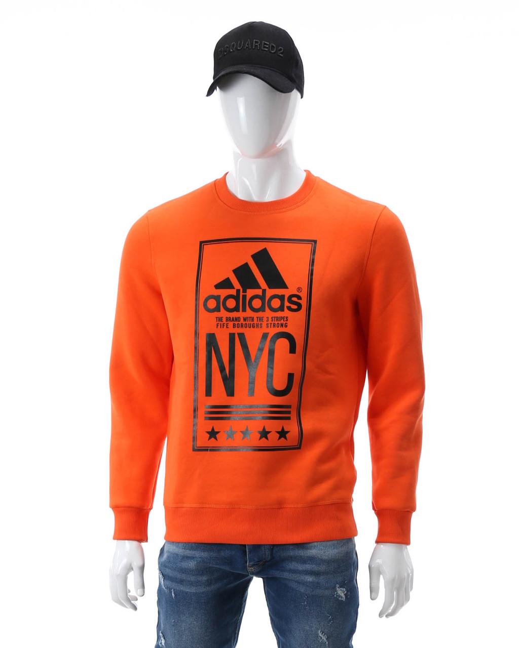 """Свитшот осень-зима оранжевый ADIDAS с принтом """"NYC""""  ORN XL(Р) 19-422-003"""