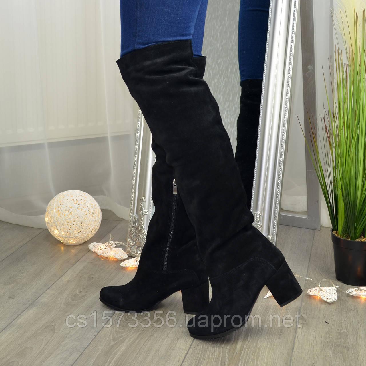 Замшевые зимние ботфорты трубы на невысоком устойчивом каблуке, цвет черный. 37 размер