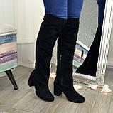 Замшевые зимние ботфорты трубы на невысоком устойчивом каблуке, цвет черный. 37 размер, фото 2