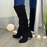 Замшевые зимние ботфорты трубы на невысоком устойчивом каблуке, цвет черный. 37 размер, фото 3