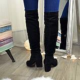 Замшевые зимние ботфорты трубы на невысоком устойчивом каблуке, цвет черный. 37 размер, фото 4