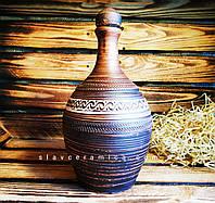 Штоф из красной глины 1.4 литра / Пляшка глиняна
