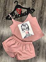 Пудровая летняя пижама майка+шорты с аппликацией.