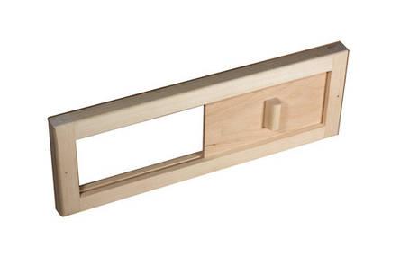 Вентиляционная заглушка-задвижка из липы для бани и сауны Tesli 365х125 мм, фото 2