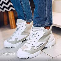 Белые кроссовки из эко-замши 36 размер, фото 1