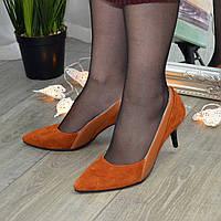 Туфли женские рыжие на маленькой шпильке, натуральная замша и кожа. 37 размер
